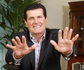 Peter Popoff attempting to heal through the TV screen