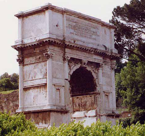 The Arch of Titus in Rome, which commemorates the fall of Jerusalem and destruction of the temple in AD 70