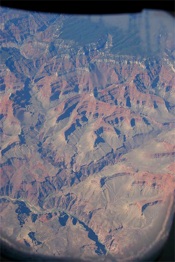 The Grand Canyon through the window of a plane