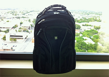 My new backpack, with San Antonio in the background
