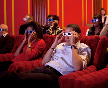 The President and First Lady watching the 2009 Super Bowl in 3-D. This photo released from the White House.