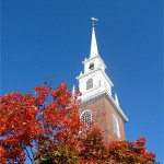 The steeple of Memorial Church at Harvard