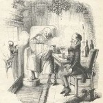 "John Leech's illustration from the first edition of A Christmas Carol. Scrooge and Bob Cratchit enjoy some ""smoking bishop"" as they discuss Cratchit's job and family."