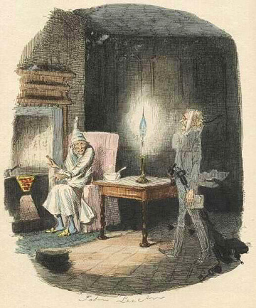 """Marley's Ghost"" by John Leech, from the first edition of A Christmas Carol. Public domain."