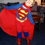 Like father, like son, except Nathan's Superman suit was way better than mine.