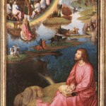 Hans Memling, St. John Altarpiece, 1474-1479. A painting of the revelation given to John was he was exiled to the island of Patmos. A vision of the lamb receiving worship.