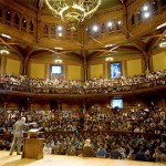"Sanders Theater at Harvard University, filled to the brim with students for Michael Sandel's ""Justice"" course. In some years, this course included more than 1,000 students. I was a teaching fellow for this course when it began in the early 1980s. I led a couple of sections for discussion and graded my students' work."