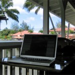 My computer enjoys the porch of a coffee bar in Hanalei, Hawaii.