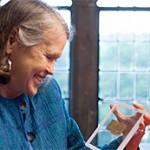 Karen King smiles at her fragment.