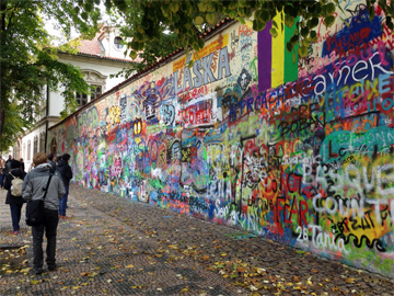 My son, Nathan, checking out Lennon's wall in October 2013