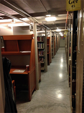 The carrels and stacks of Widener Library. Yes, that is a coffee up you see by my computer. And, yes, it is now legal to bring a drink into Widener.