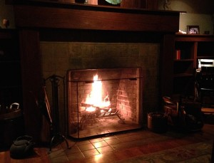 My first fire in the fireplace of our Pasadena home