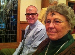 My mom and I at an Ash Wednesday service in 2012.