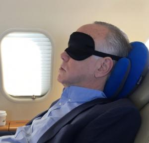Yes, I was wearing that silly  sleep mask as I napped on the plane.