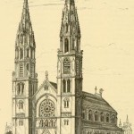 An artist's drawing of the church in 1878, with spires that never materialized.