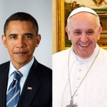 Public domain photos of Barack Obama and Pope Francis