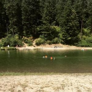 The kids swimming