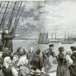 Immigrants approaching the Stature of Liberty