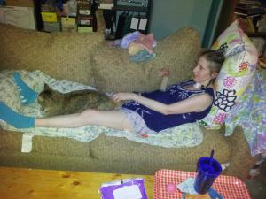 Via Keith Onstad. You can see how skinny I had become as I petted Nala on my first furlough from the nursing home.
