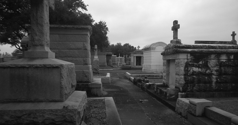 Walking with the dead, among the dead. (Metairie Cemetery, New Orleans, Louisiana)