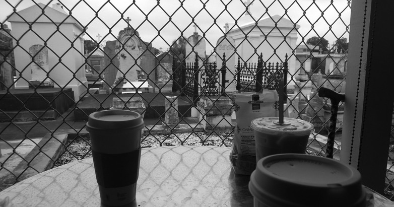 Media vita in morte sumus. And we have coffee. (Sacred Grinds Coffee and St. Patrick's Cemetery, New Orleans, Louisiana)