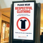 "Sign requesting people to wear ""respectful clothing.""  Image via sandierpastures.com."