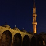 One of the Blue Mosque's minarets, just after fajr prayer