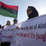 Libyan women at a protest in Benghazi.  Via Associated Press.