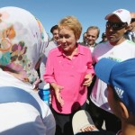 PQ leader Pauline Marois speaks to women in hijab while campaigning in early September. Photo via Reuters.