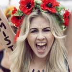 A Femen member at a protest.