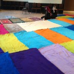 The colourful prayer space at the Eid prayer hosted by el-Tawhid Juma Circle in Toronto.
