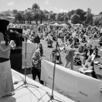 Zahra Billoo speaking at a rally. [Source].