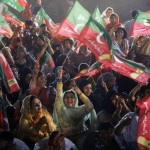 Women gather to support Imran Khan at an election rally. Source.