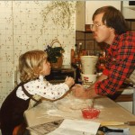 My dad and me, many years ago.  Bread making starts early in the Riley household.