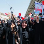 Iraqi Shi'ite women show their support for the Iraqi army in Najaf. Image by Alaa Al-Marjani/Reuters