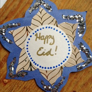 Homemade Eid card from wood turtle and her daughters.