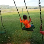 Swinging in the Drakensberg.