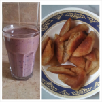 My smoothie and fried atayef.