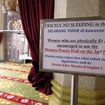 A sign found in Singapore's Sultan Mosque encouraging fit and able-bodied women to use the second floor.