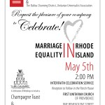Celebrate Marriage Equality in Rhode Island this coming Sunday, the 5th of May