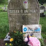 "She Roars: Women and Men in Rochester, New York, are putting their ""I Voted"" Stickers on Susan B Anthony's Grave"