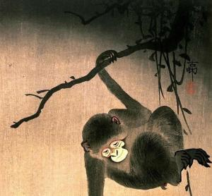 Monkey Reaching for The Moon - Ohara Koson