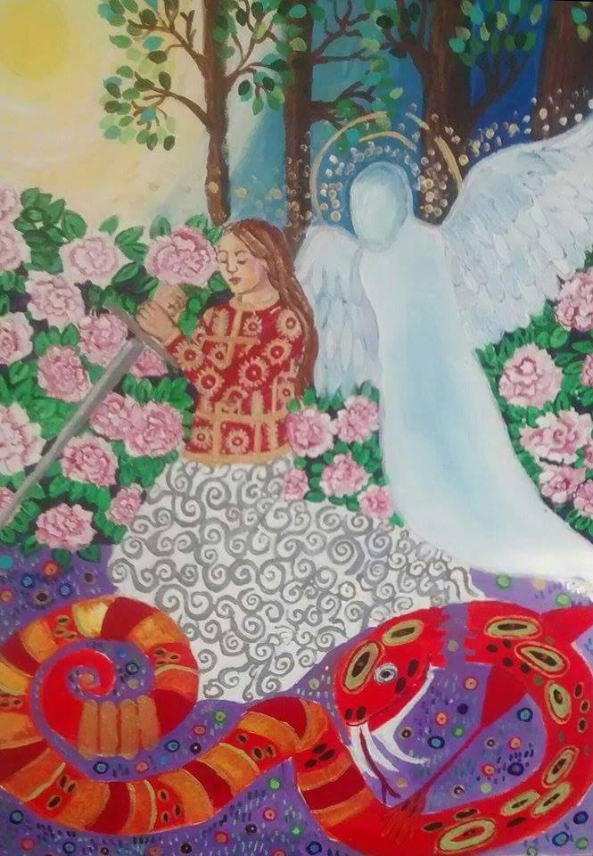 A painting by Stephenie Bushra Khan depicting her struggle with PTSD