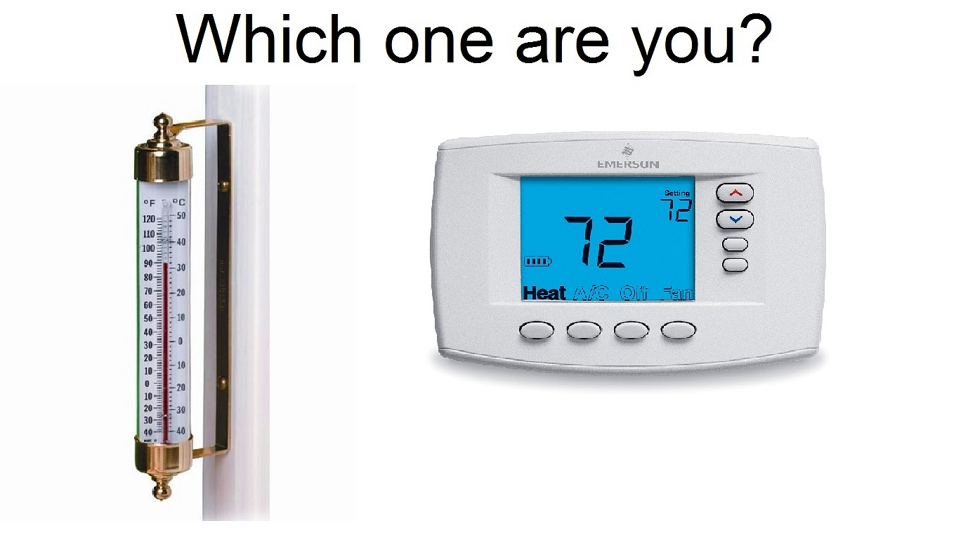 what is the difference between thermometer and thermostat