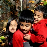 Ali kids in the fall