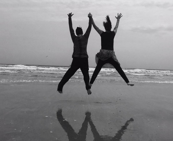 A and I jumping for joy last year at the beach.