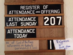 the jokes my parishioners put on the attendance board and half the reason to show up.