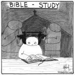 bible study head in a vice cartoon by nakedpastor david hayward