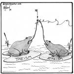 still alive between theism and atheism cartoon by nakedpastor david hayward
