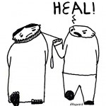 pet jesus heal heel cartoon by nakdpastor david hayward